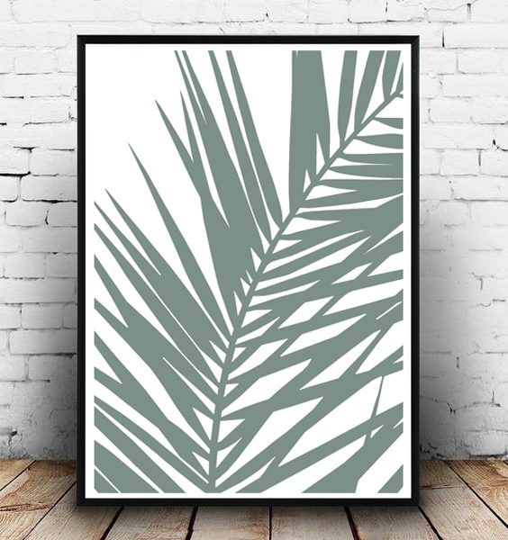 FRAMED - ABSTRACT GREEN PALM LEAF
