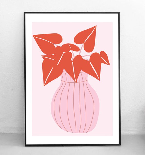FRAMED - ABSTRACT PINK VASE