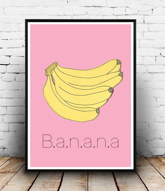 FRAMED - ABSTRACT POSTER - BANANA BLACK