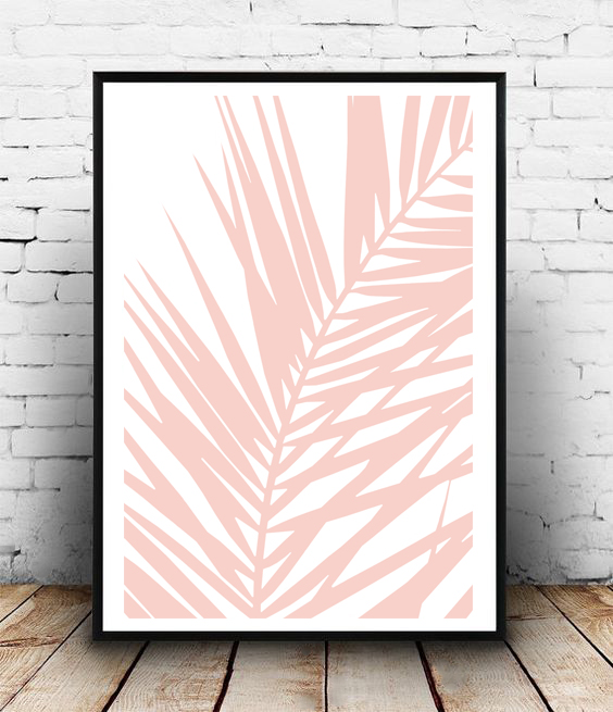 FRAMED - ABSTRACT PINK PALM LEAF