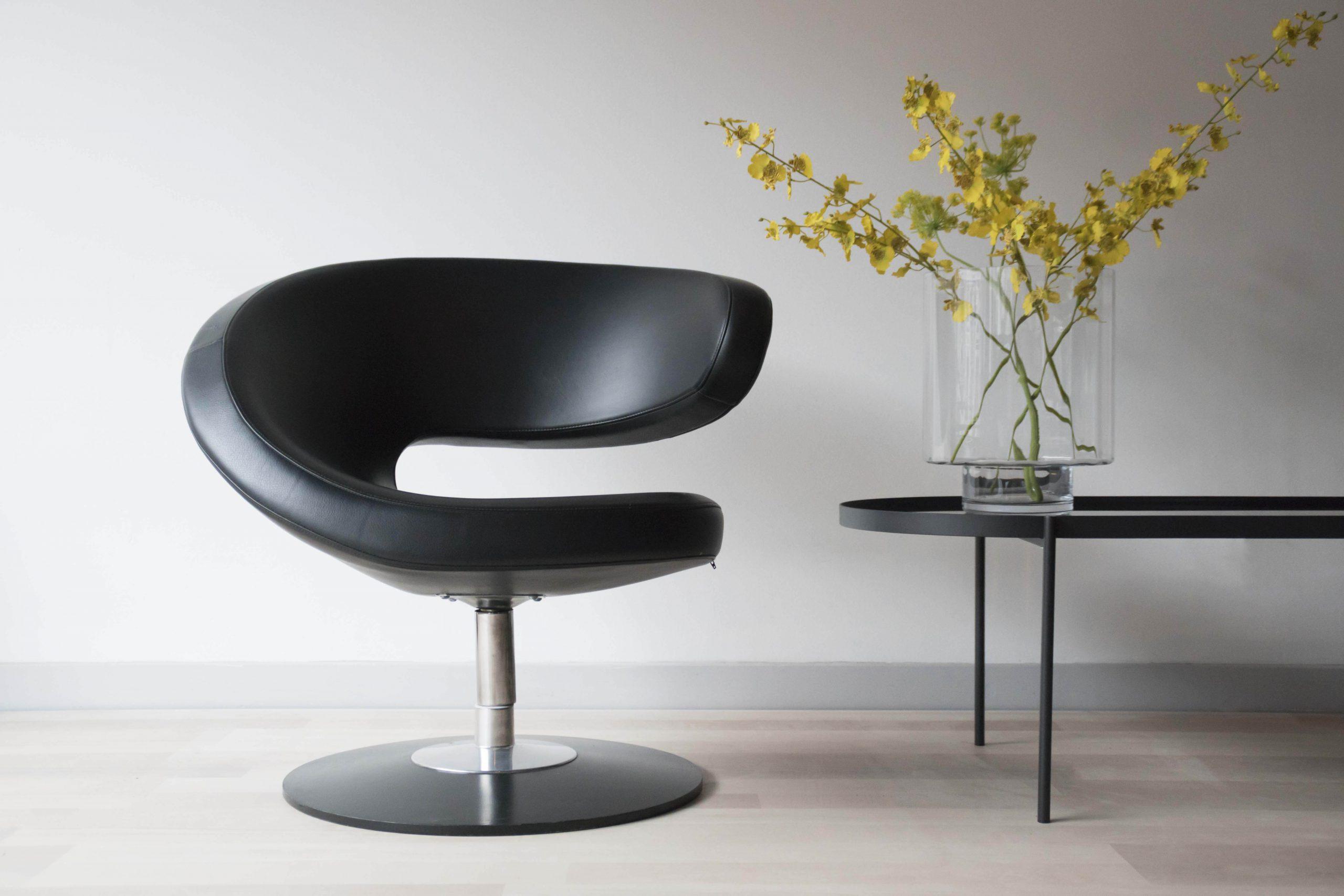 Fauteuil Design Leer.Design Varier Peel Club Fauteuil In Elegant Zwart Leer Studio